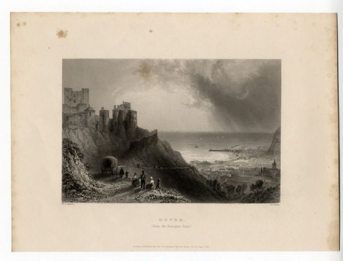 1836 Antique Print DOVER CASTLE KENT Georgian Engraving